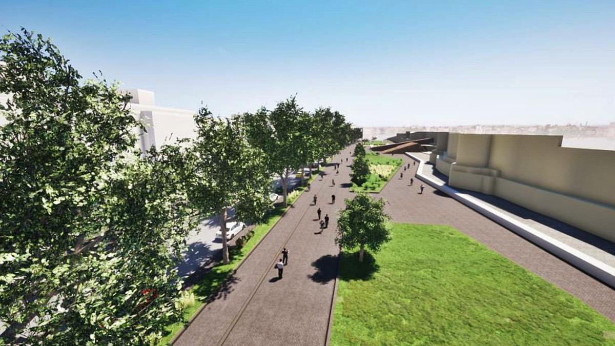 Recreación del paseo de la avenida de la Feria una vez ejecutada la urbanización y ajardinamiento en el entorno de la muralla. | Ayuntamiento de Zamora