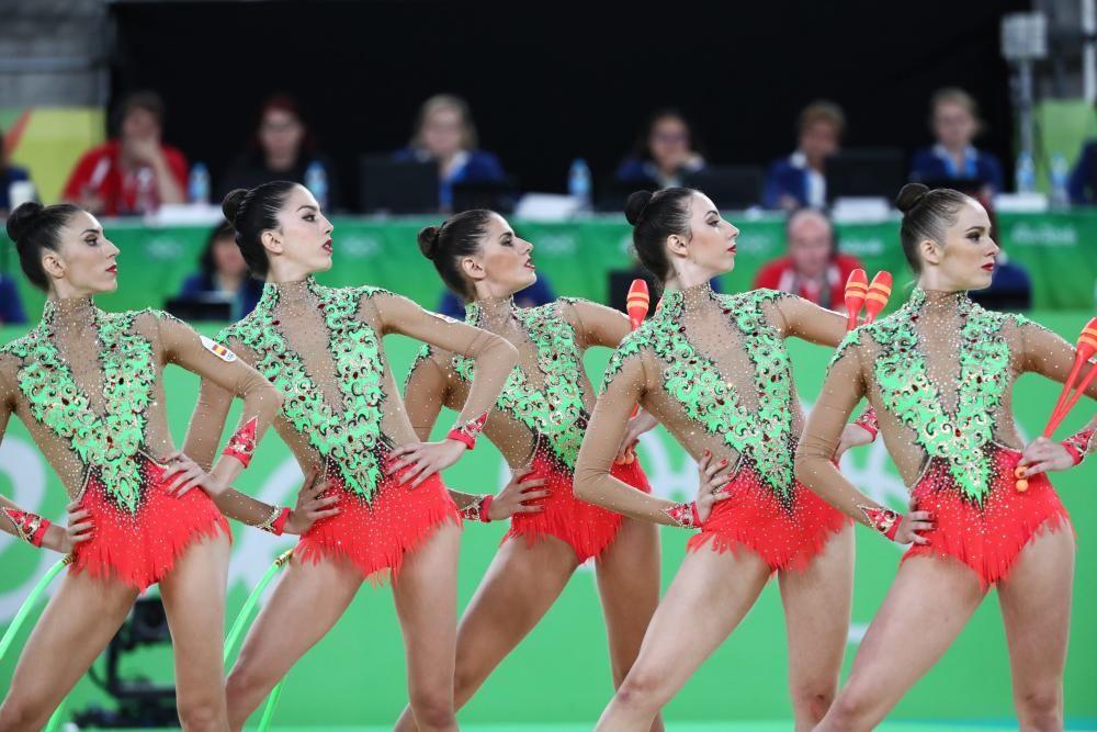 Final de gimnasia rítmica. En la imagen el equipo español.