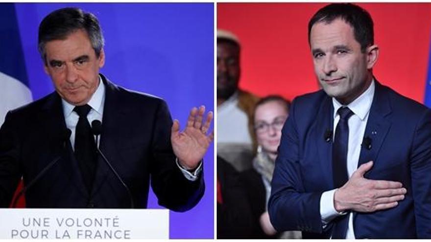 Fillon y Hamon piden el voto para Macron