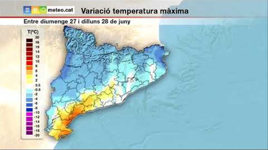 L'arribada d'una massa d'aire fred provocarà un descens de les temperatures aquest dilluns