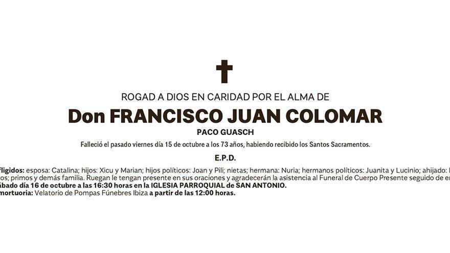Esquela Francisco Juan Colomar