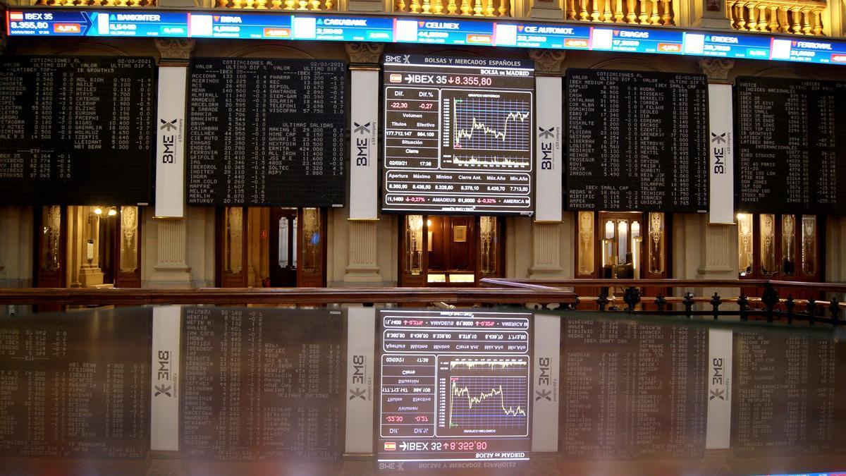 Interior del Palacio de la Bolsa, en Madrid.