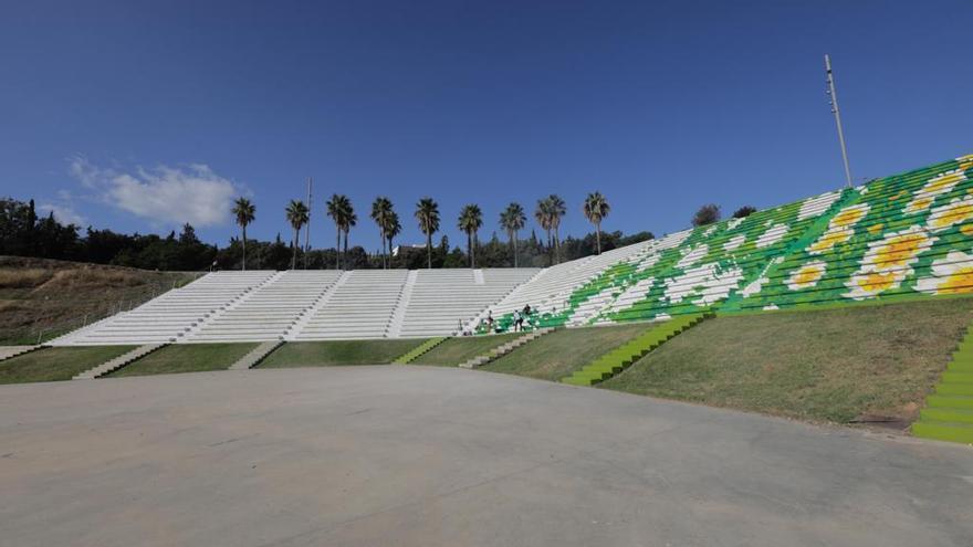 Joan Aguiló pinta un gran campo de margaritas en el anfiteatro de sa Riera