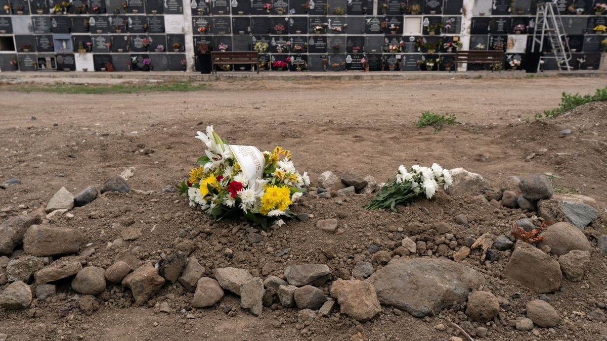 Burial site of two-year-old migrant girl, Elene Habiba Traore, who had been revived by Spanish health workers after being rescued off the island of Gran Canaria