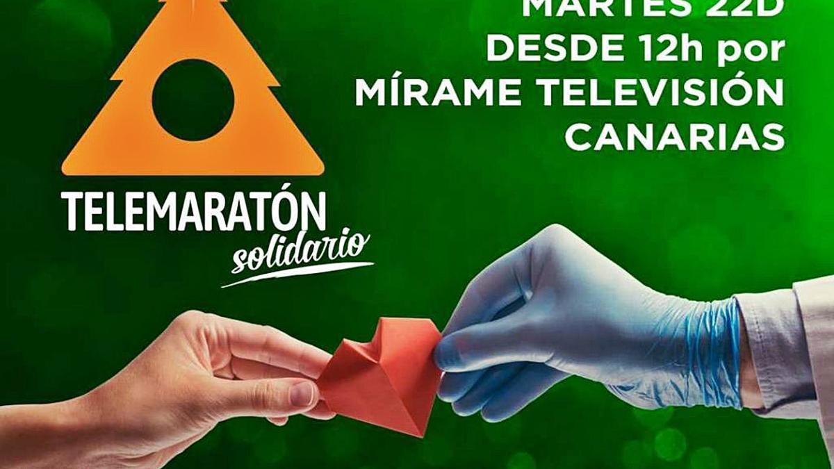 Cartel del Telemaratón Solidario de Mírame Televisión que se desarrolla hoy desde el mediodía a las cinco de la tarde.