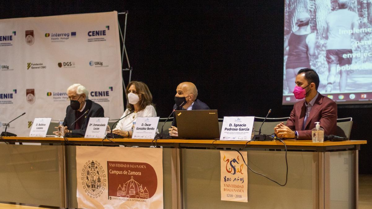 De izquierda a derecha: Balbino Lozano, Inmaculada Lucas, Óscar González Benito e Ignacio Pedrosa García, en la presentación.
