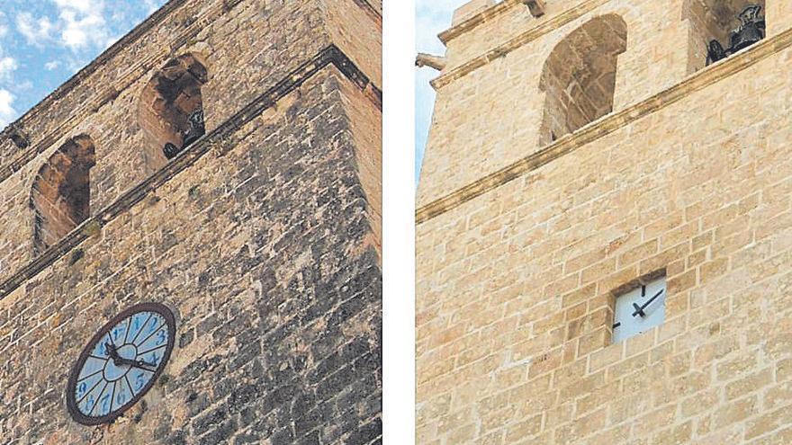 Cambian el reloj de esfera de la iglesia gótica de Xàbia por uno cuadrado y minimalista