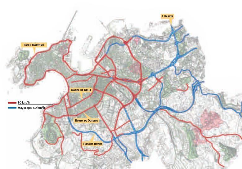 Mapa de calles de A Coruña con los nuevos límites de velocidad.