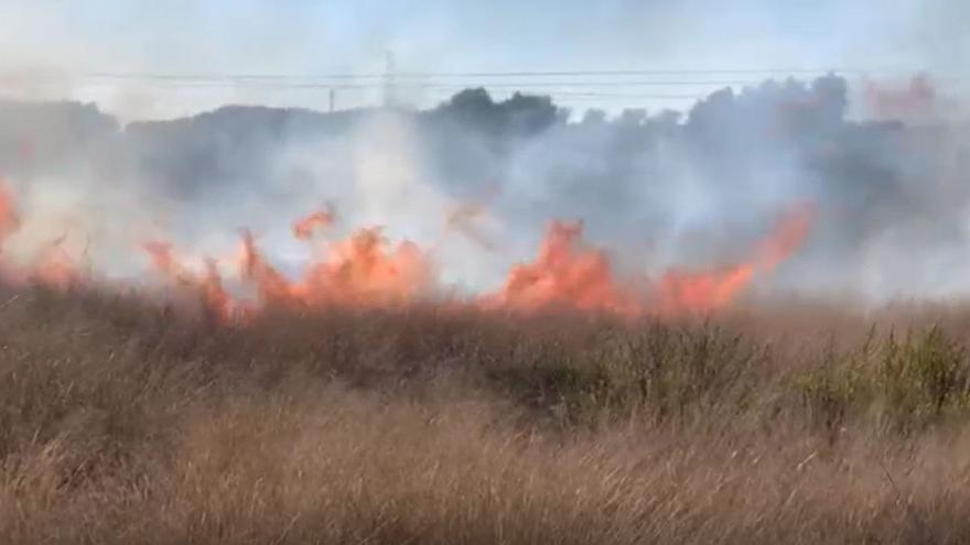 Fuerte incendio de matorrales en Alicante