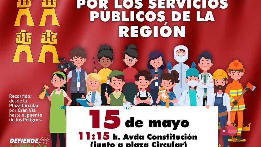Este sábado, manifestación en Murcia en defensa de los servicios públicos