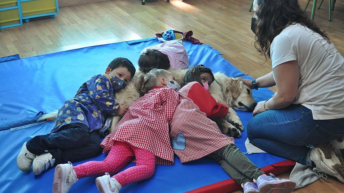 Alumnado da escola infantil de Romariz participando do obradoiro de estimulación sensorial asistida por cans.  | //DP