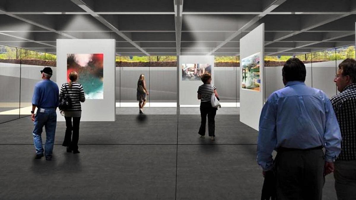 Infografía de una de las salas soterradas diseñada por los arquitectos zaragozanos para la finca de la futura Casa de las Artes de Bueño.   EINA