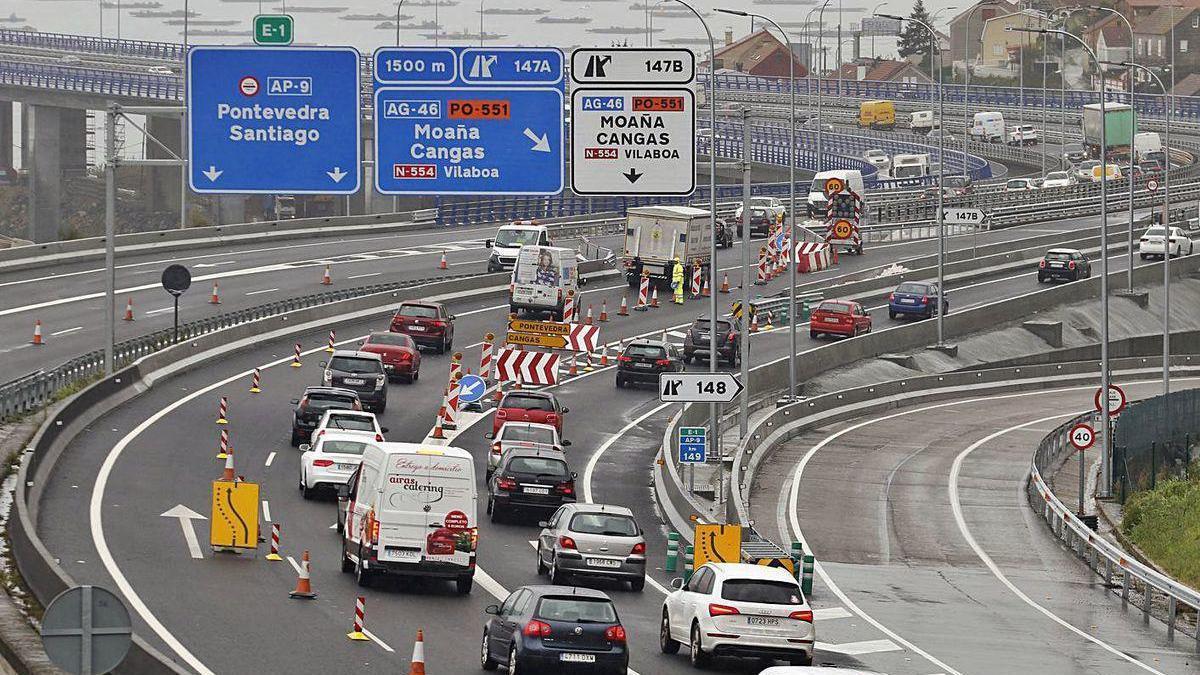 Retenciones registradas en Rande durante las obras de ampliación del puente.