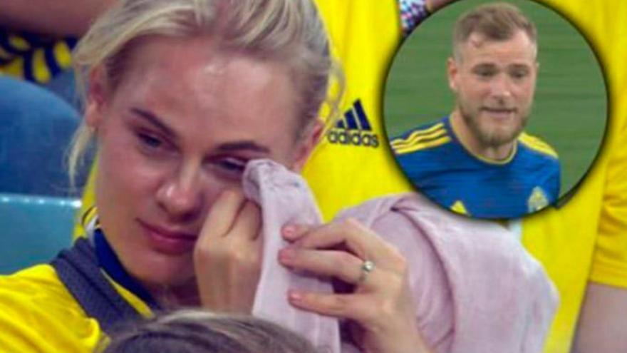 Lágrimas de la pareja de Guidetti con el debut mundialista del sueco