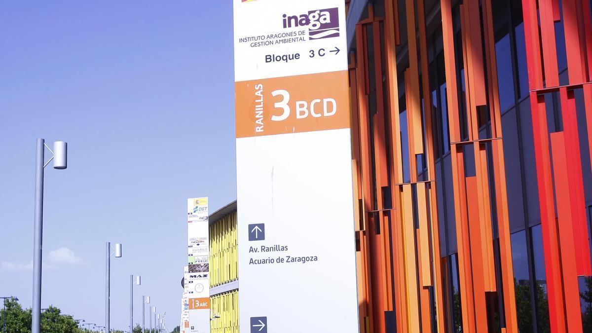 Indicativo de la sede del Instituto Aragonés de Gestión Ambiental, en el entorno de la Expo de Zaragoza.