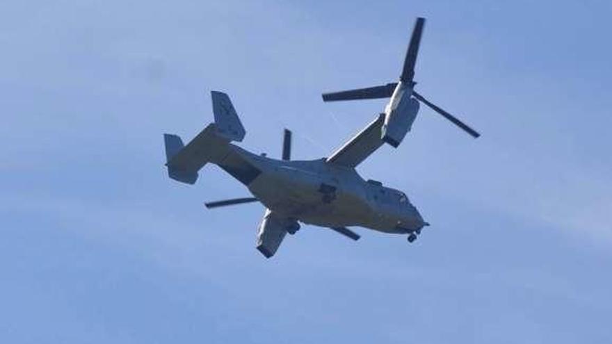 La aeronave de los marines de EE UU, de maniobras en La Morgal
