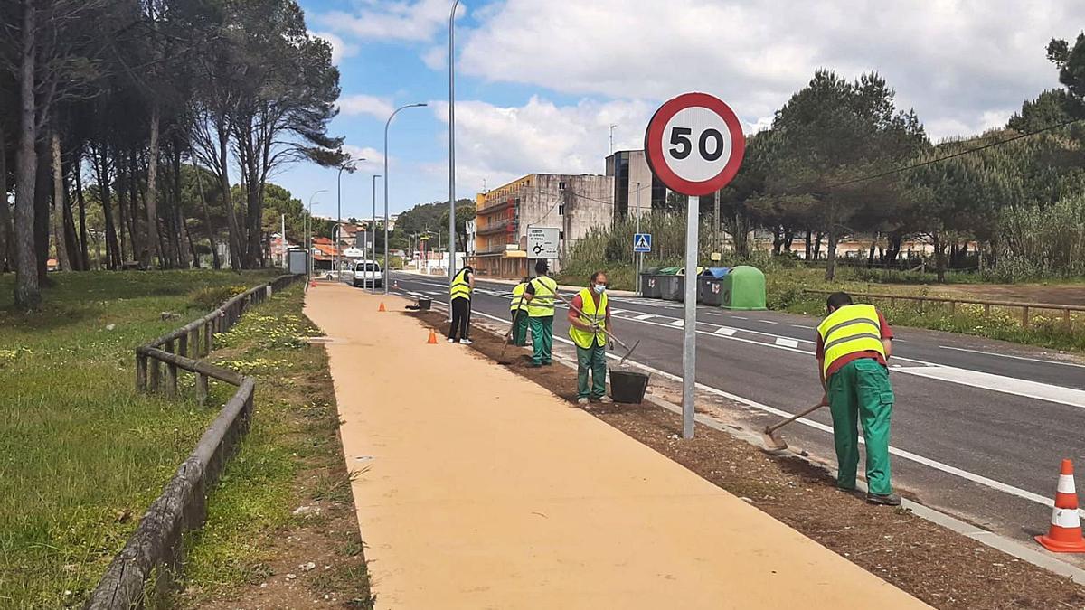 Trabajos de ajardinamiento de la senda en la PO-308 a la altura de Montalvo.