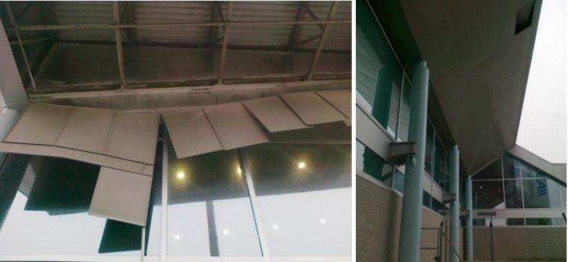 Algunas de las placas metálicas que se han caído del techo del aeropuerto de Vigo