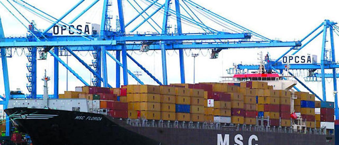 Un buque de MSC durante la carga y descarga de contenedores en la terminal de Opcsa.