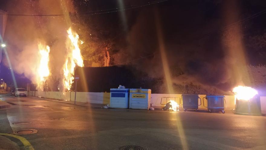 Arden varios contenedores y el seto del vallado de un Instituto en Mula