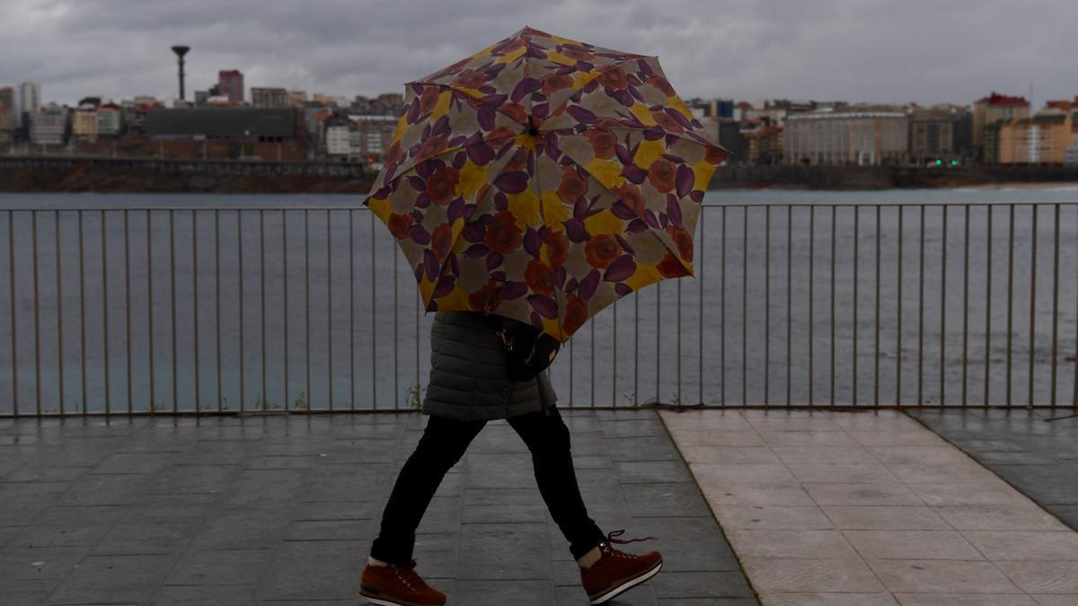 Día lluvioso en A Coruña.