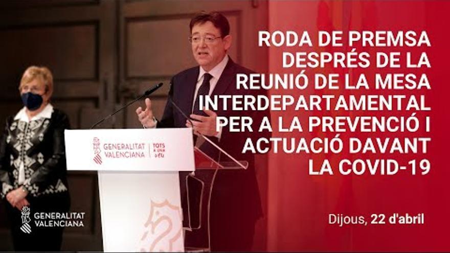 Comparecencia de Ximo Puig con motivo de las nuevas restricciones en la Comunitat Valenciana