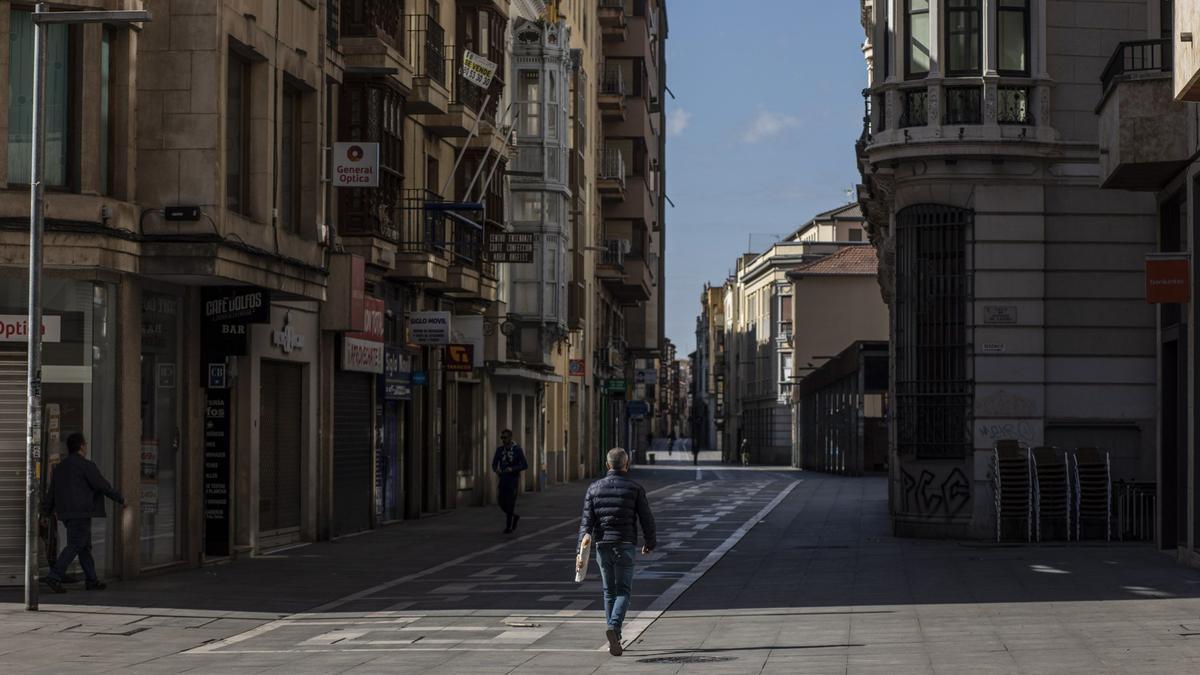 Zamora, vacía, durante el primer estado de alarma.