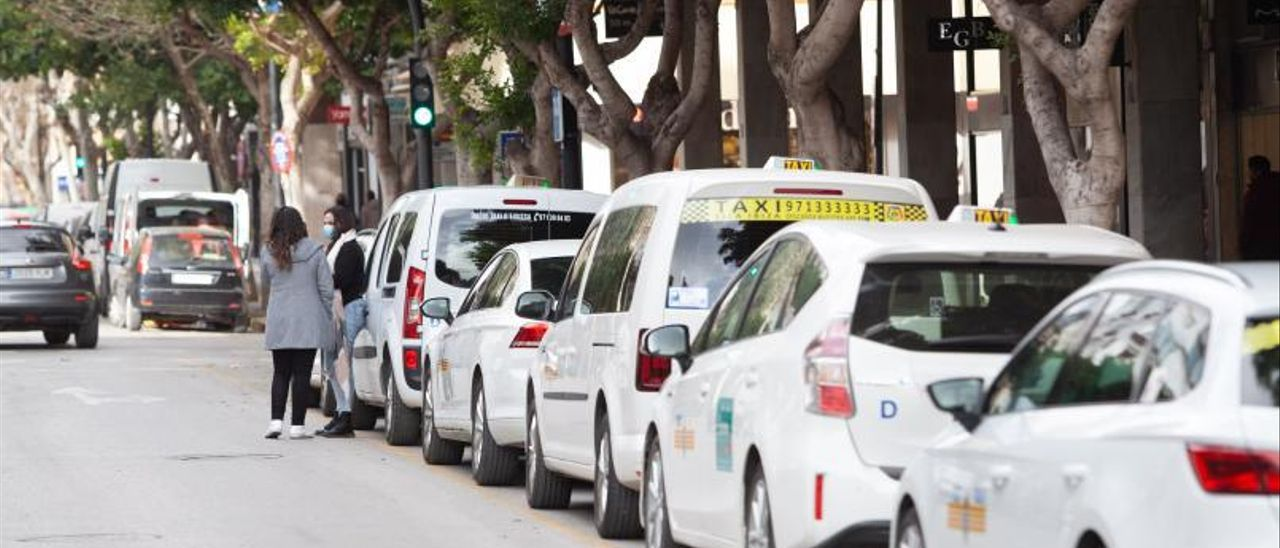 Una fila de taxis estacionados en la parada de la avenida Bartomeu Roselló, en Vila. | VICENT MARÍ