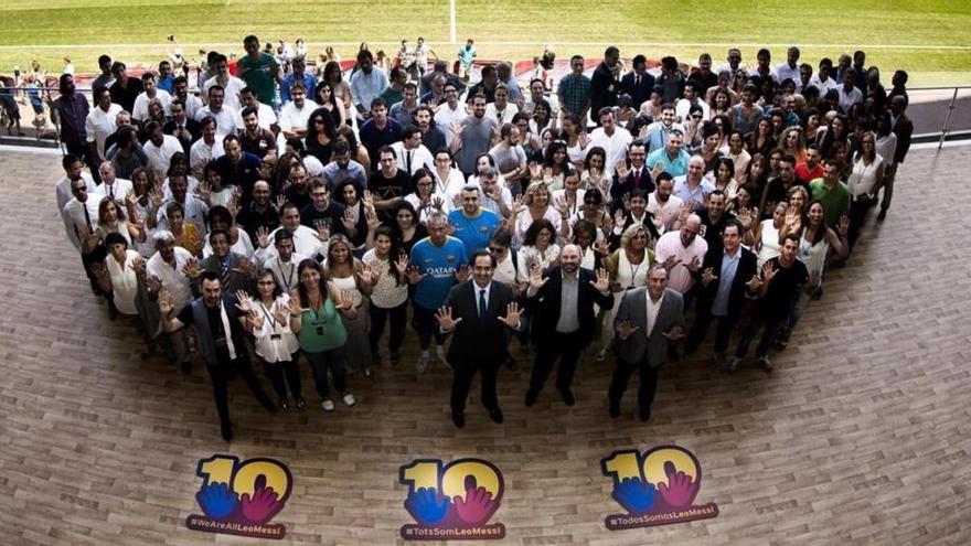 Los empleados del Barça se solidarizan con Messi