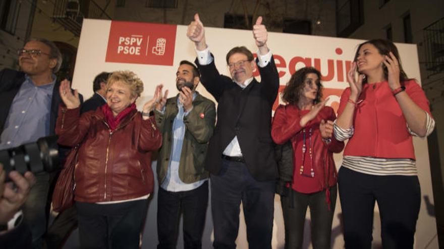 Ximo Puig celebra la victoria del PSPV en las elecciones autonómicas