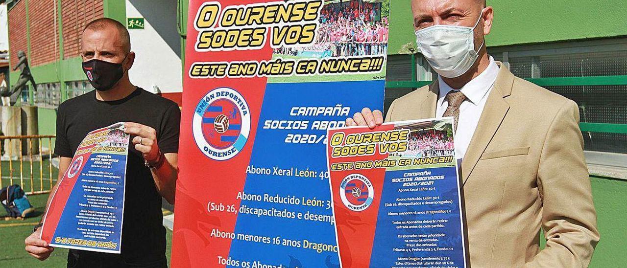 Almeida y González, ayer durante la presentación de la campaña de abonados.