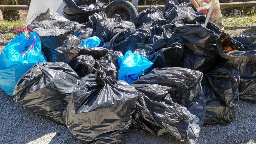 El Grup de Defensa de la Natura retira 26 bosses d'escombraria de la Font Negra
