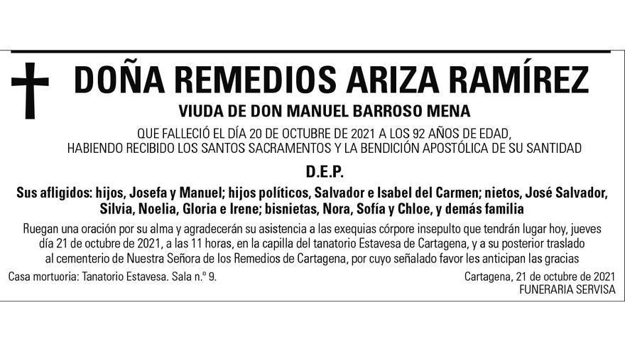 Dª Remedios Ariza Ramírez