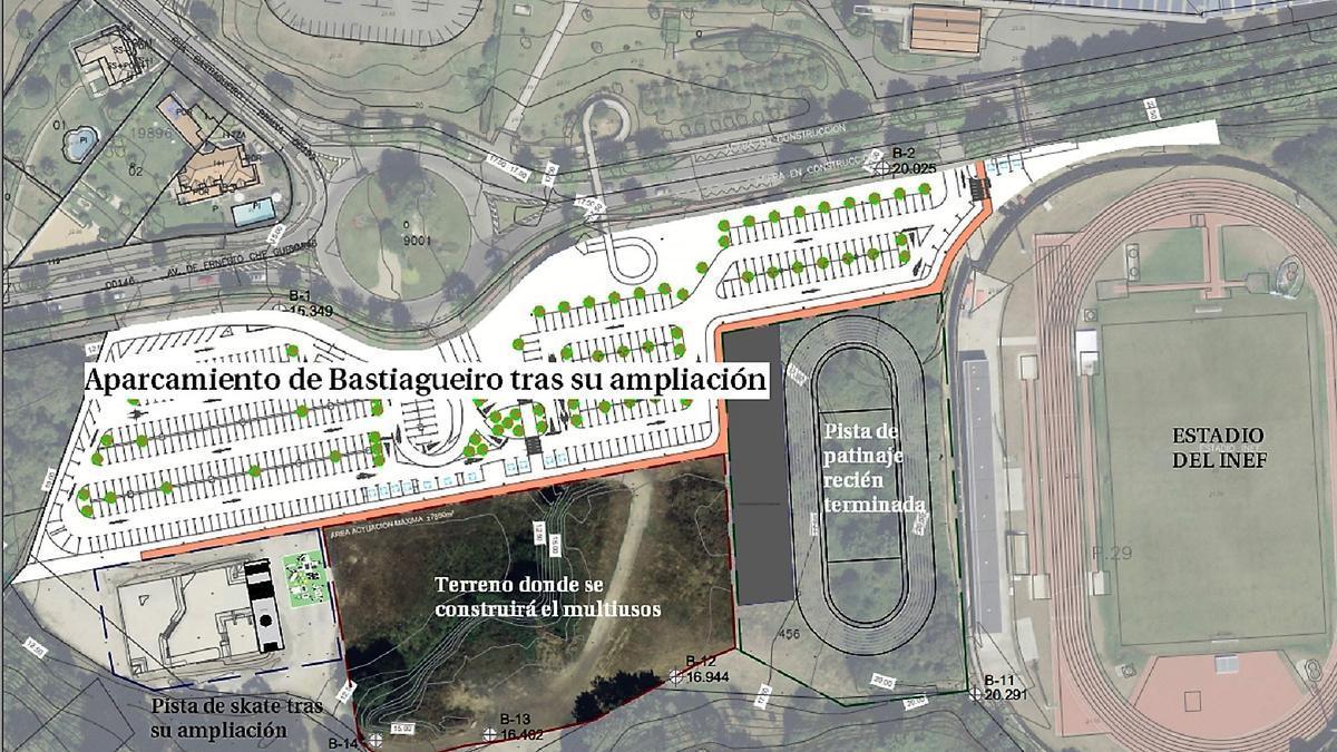 Ubicación del futuro multiusos, entre la pista del INEF y la plaza de 'skate'