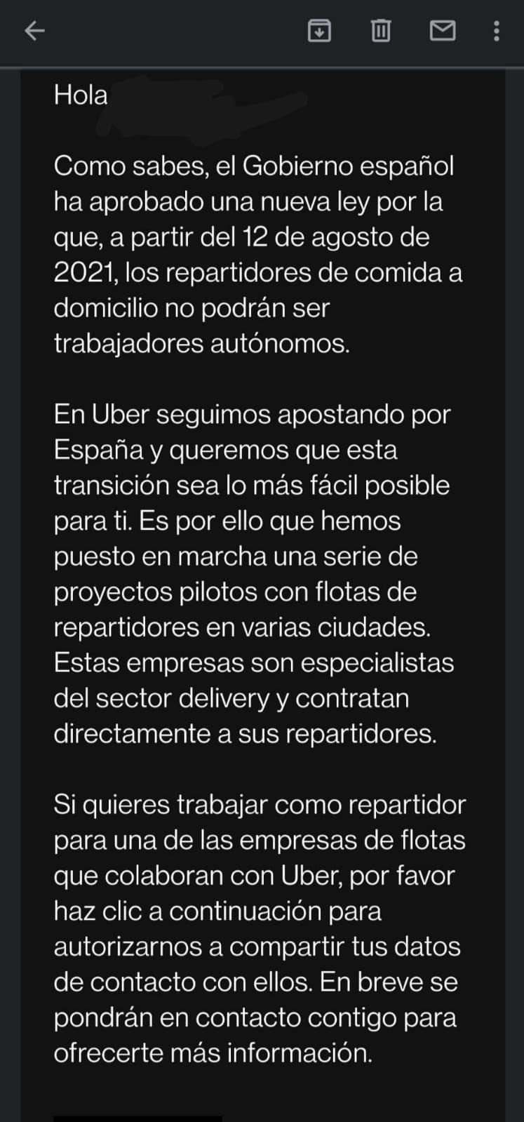Mensaje de Uber Eats a los repartidores