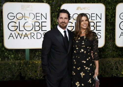 Actor Christian Bale and wife Sibi Blazic arrive at the 73rd Golden Globe Awards in Beverly Hills