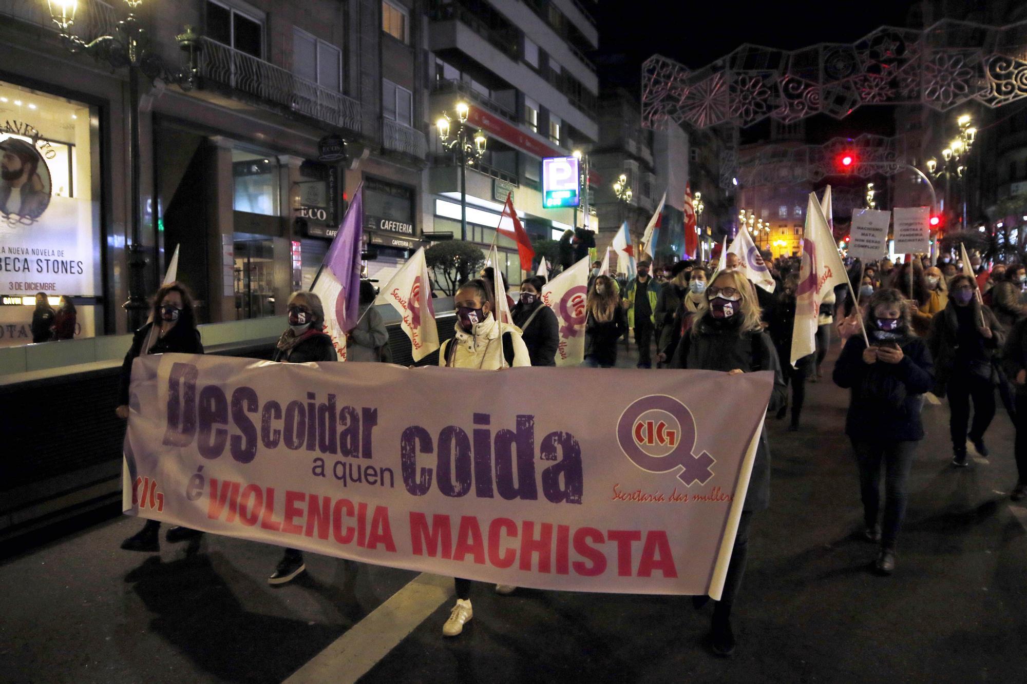 Centenares de personas salieron a la calle en Vigo para rechazar la violencia de género