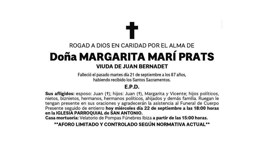 Esquela de doña Margarita Marí Prats