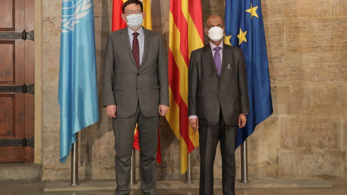 Puig destaca la apuesta por impulsar un hub tecnológico en la base valenciana de la ONU que acoja otros organismos internacionales