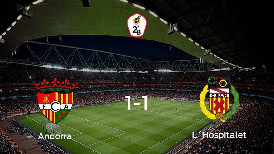 El FC Andorra y el L´Hospitalet reparten los puntos tras empatar a uno