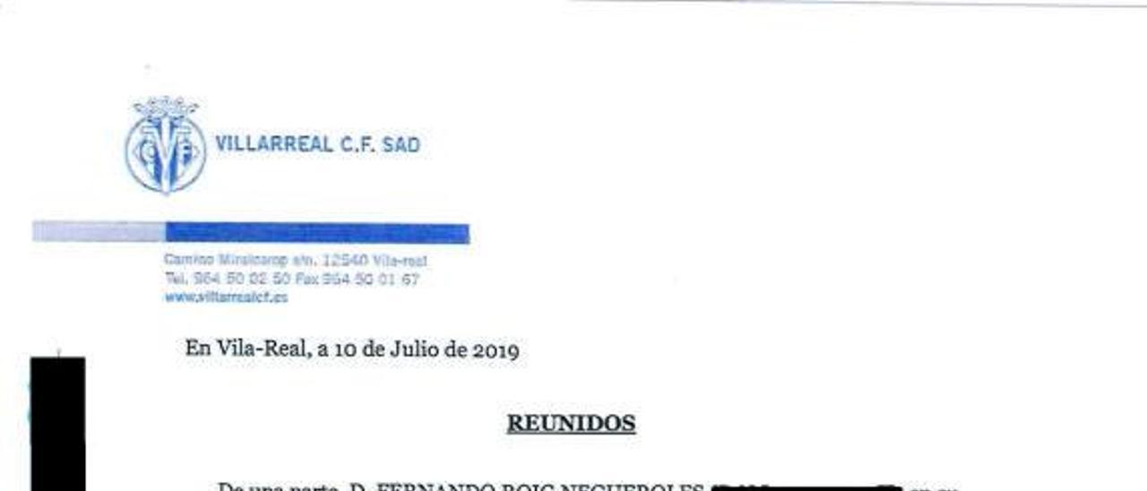 El contrato firmado entre Villarreal y Ferreres en julio de 2019.