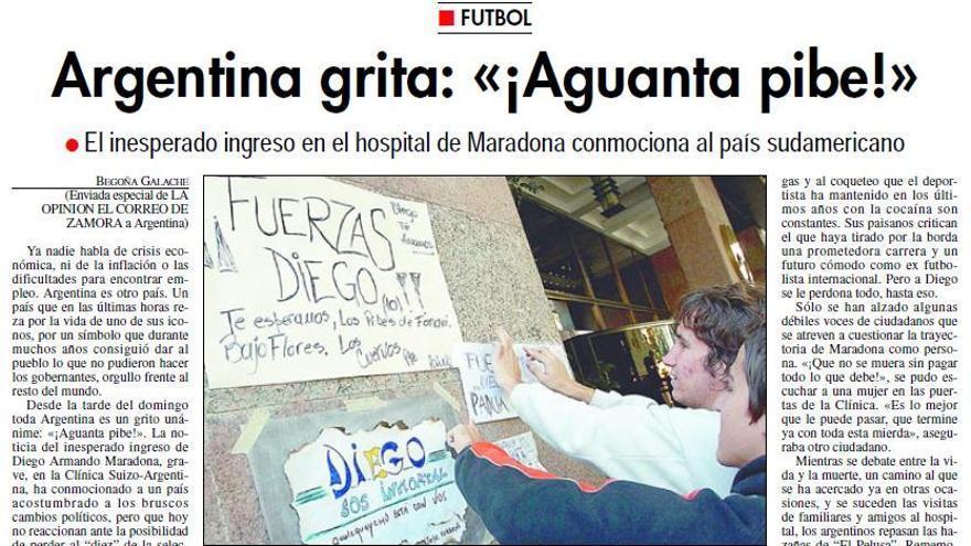 HEMEROTECA   Argentina grita: «¡Aguanta pibe!»