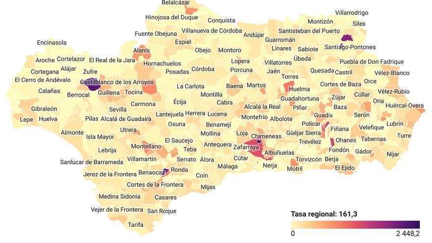 Mapa con la incidencia del Covid-19 en los 785 municipios de Andalucía