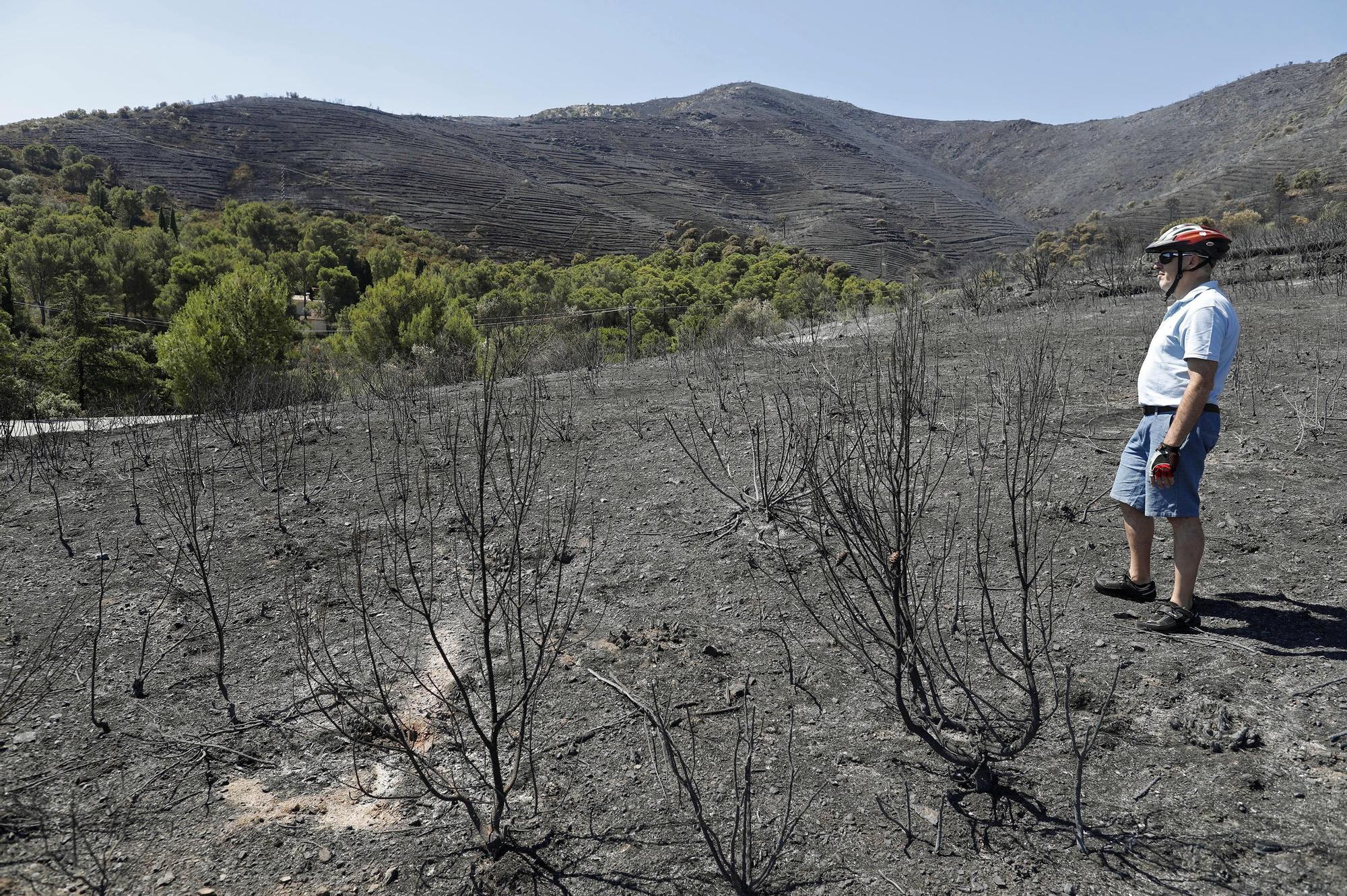 Treballs d'extinció i els danys de l'incendi de Llançà