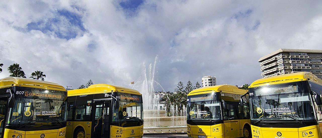 Cuatro de los nuevos vehículos de 18 metros que ha adquirido Guaguas Municipales y estarán en la calle en el primer trimestre de 2021 . | | LP/DLP