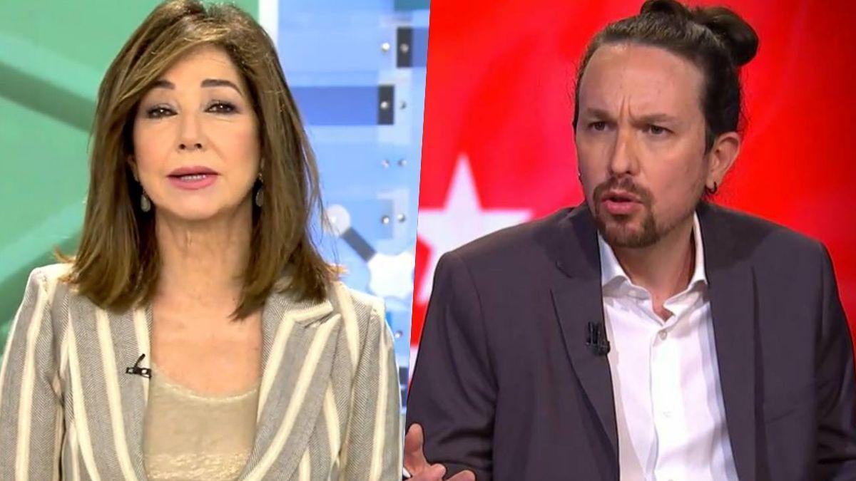 La presentadora Ana Rosa Quintana y el ex líder de Podemos, Pablo Iglesias.