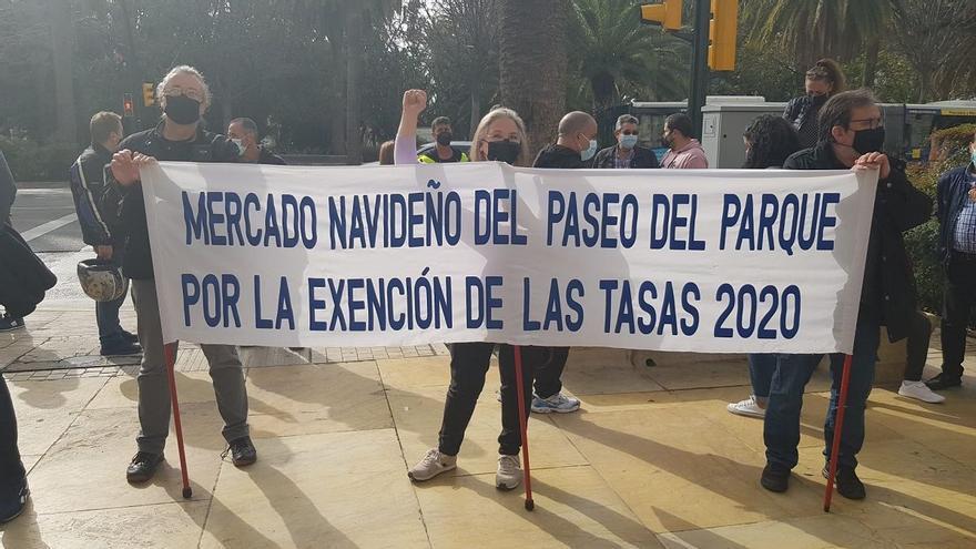 Manifestación en el Parque de los vendedores ambulantes de Málaga