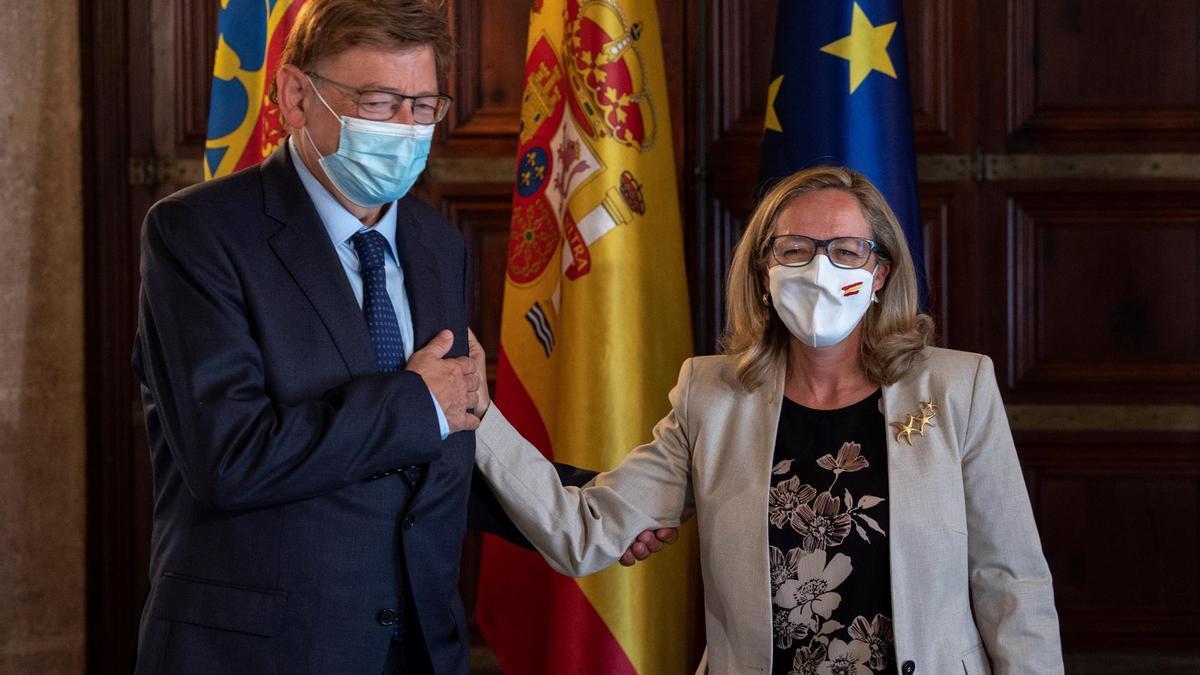 Ximo Puig y Nadia Calviño en su encuentro en València