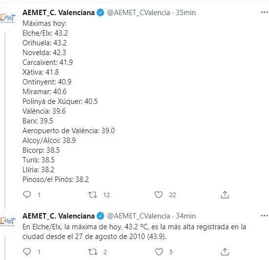 Temperaturas según el twitter de la Agencia Estatal de Meteorología, de hoy lunes