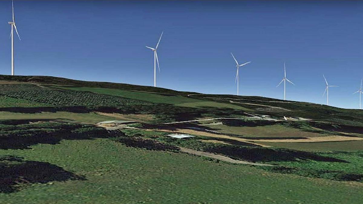 Simulación de los molinos proyectados desde Pradeiro incluida en el proyecto de Greenalia.  | // LOC